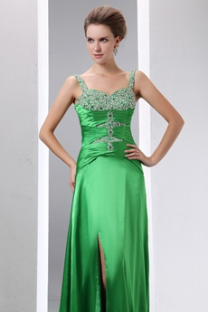 Dazzling Hunter Green Prom Party Dress With Silver Beads