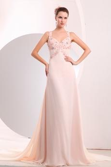 Delicate Straps A-line Pink Chiffon Celebrity Evening Dress