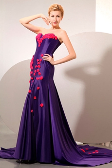 Attractive Sheath Purple Evening Dress With Hot Pink Flowers
