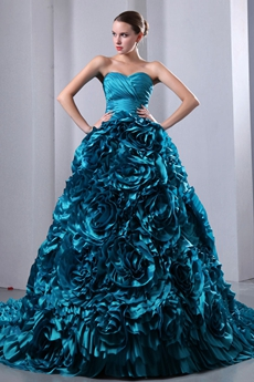 Breathtaking Teal Floral Quinceanera Dress 2016