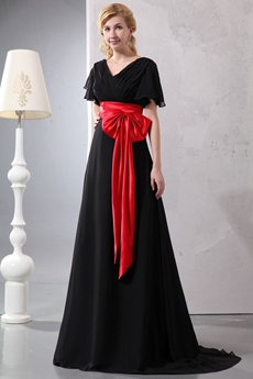 Short Sleeves Black Chiffon Long Prom Dress With Red Sash