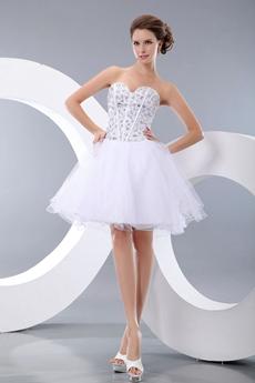 Tutu Mini Length White Sweet 16 Dress With Rhinestones