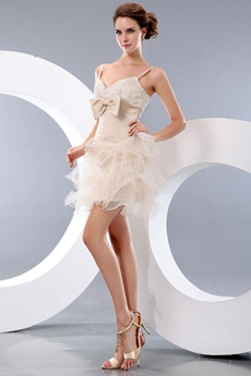 Chic Spaghetti Straps Beige Colored Tutu Cocktail Dress