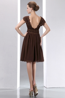 Knee Length Chocolate Chiffon Wedding Party Dress