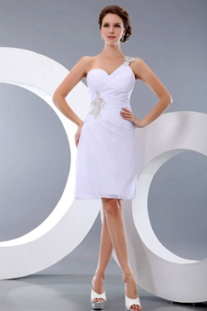 One Shoulder White Cocktail Dress For Summer