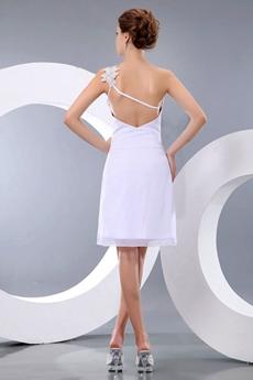 One Shoulder White Cocktail Dress For Summer