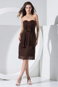 Modest Knee Length Chocolate Chiffon Wedding Guest Dress