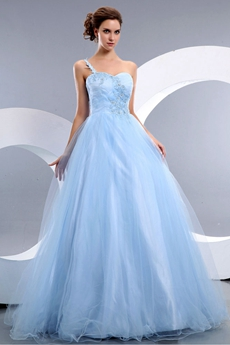 Junoesque One Shoulder Light Sky Blue Sweet 15 Dress