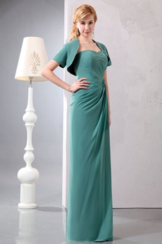 Sheath Full Length Jade Green Mother Dress With Jacket
