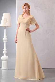 Short Sleeves Champagne Chiffon Mother Of The Bride Dress