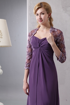 Beautiful Eggplant Mother Of The Bride Dress With Lace Jacket