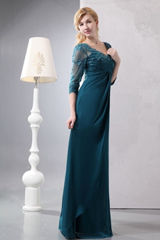 3/4 Lace Sleeves Teal Mother Of The Groom Dress