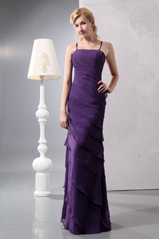 Glamour Straight Full Length Purple Mother Of The Bride Dress