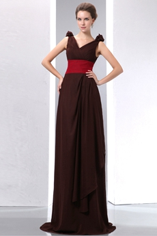 Elegance Chocolate Chiffon Engagement Evening Gown