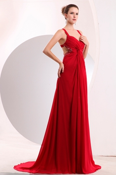 Grecian Crossed Straps Back A-line Red Chiffon Formal Evening Dress