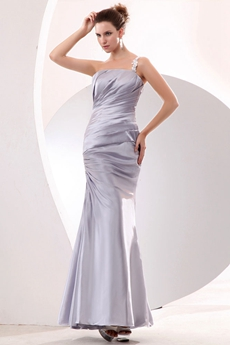 Charming One Shoulder Sheath Ankle Length Silver Evening Dress