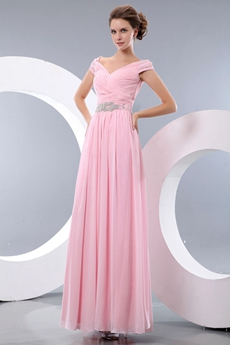 Off The Shoulder Ankle Length Column Pink Graduation Dress For College