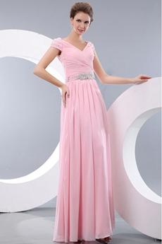 Off The Shoulder Ankle Length Column Pink Graduation Dress For College