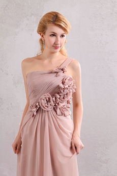 Elegance One Shoulder Dusty Rose Formal Evening Dress