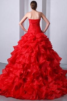 Retro Vampire Bloody Red Wedding Dress Dropped Waist