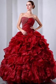 Gothic Organza Dark Red Sweet Fifteen Dress