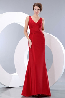 V-Neckline A-line Red Formal Evening Gown