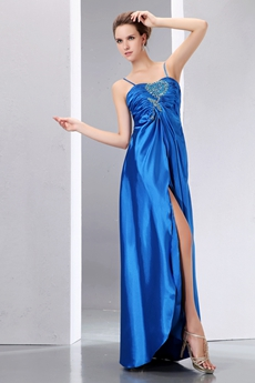 Casual Turquoise High Slit Cocktail Party Dress