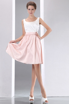 White & Pink High School Graduation Dress