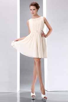Boat Neckline Mini Length Light Champagne Homecoming Dress