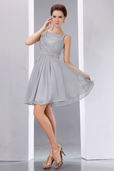 Bateau Neckline Mini Length Gray Chiffon High School Graduation Dress