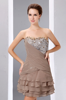 Mini Length Brown Homecoming Dress With Sequins