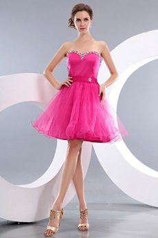 Lovely Sweetheart Puffy Mini Length Fuchsia Sweet Sixteen Dress
