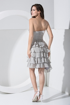 Pretty Short Length Gray Chiffon Damas Dress With Tiered