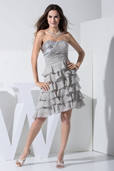 Pretty Short Length Gray Chiffon Damas Dress With Tiered