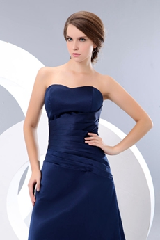 Modest A-line Dark Navy Satin Bridesmaid Dress