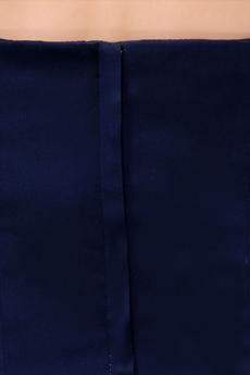 Modest A-line Dark Navy Satin Bridesmaid Dress