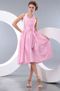 sweet Halter Tea Length Pink Junior Prom Dress