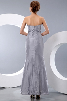 Ankle Length Silver Gray Junior Prom Dress