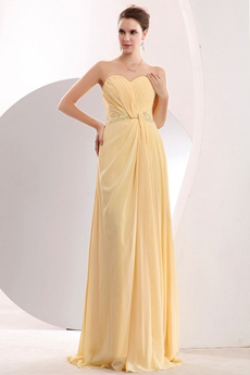 Lovely Sweetheart Daffodil Yellow Chiffon College Graduation Dress
