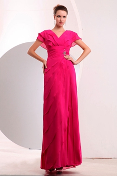 Cap Sleeves Ankle Length Fuchsia Chiffon Prom Dress