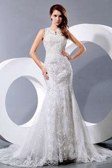 vintage Fit & Flare Lace Wedding Dress