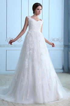 Fantastic Straps Princess Lace Wedding Gown