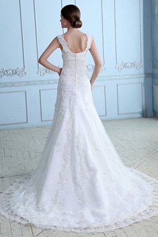 Brilliant Double Straps Lace Bridal Gown