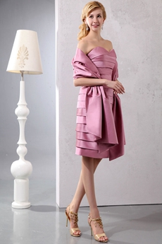 Knee Length Dusty Rose Satin Mother Of The Groom Dress