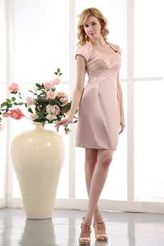 A-line Mini Length Pink Wedding Party Dress With Bolero