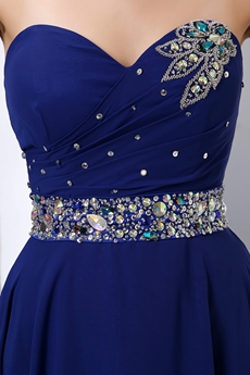 Delicate Royal Blue Prom Party Dress With Beaded Belt