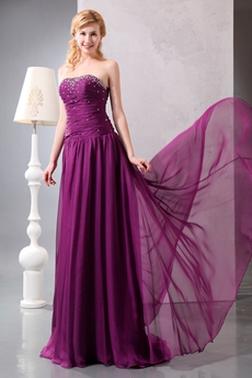 Beautiful Dipped Neckline Plum Chiffon Prom Party Dress