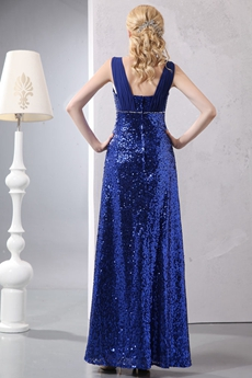 Straight Full Length Royal Blue Sparkled Mother Of The Bride Dress