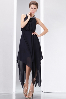 Halter High Low Black Junior Prom Dresses