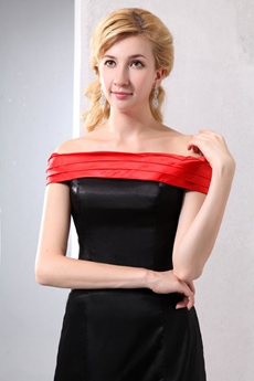 Off The Shoulder Mini Length Black & Red Wedding Guest Dress